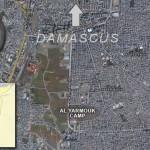 Peta wilayah kamp penampungan pengungsi di Yarmouk, dekat Damaskus, Suriah.
