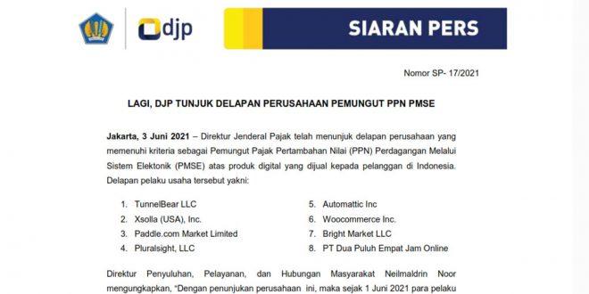 DJP Tunjuk Delapan Perusahaan Pemungut PPN PMSE